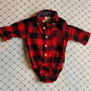 OSHKOSH | Red/BLK Plaid Collared Onesie Holiday